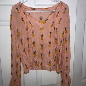 Silky Light Pink Pineapple Blouse